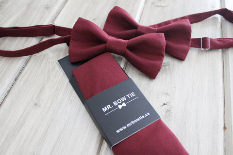 burgundy bow ties and neck ties