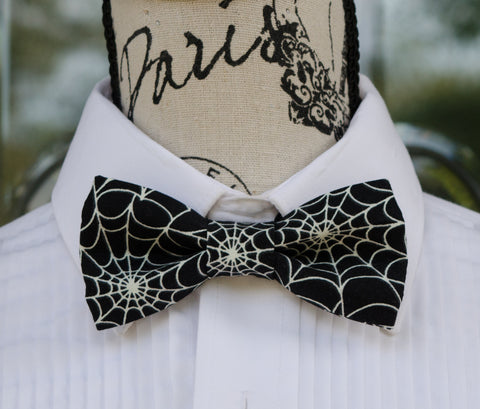 White Spider Webs on Black Bow Tie - Mr. Bow Tie