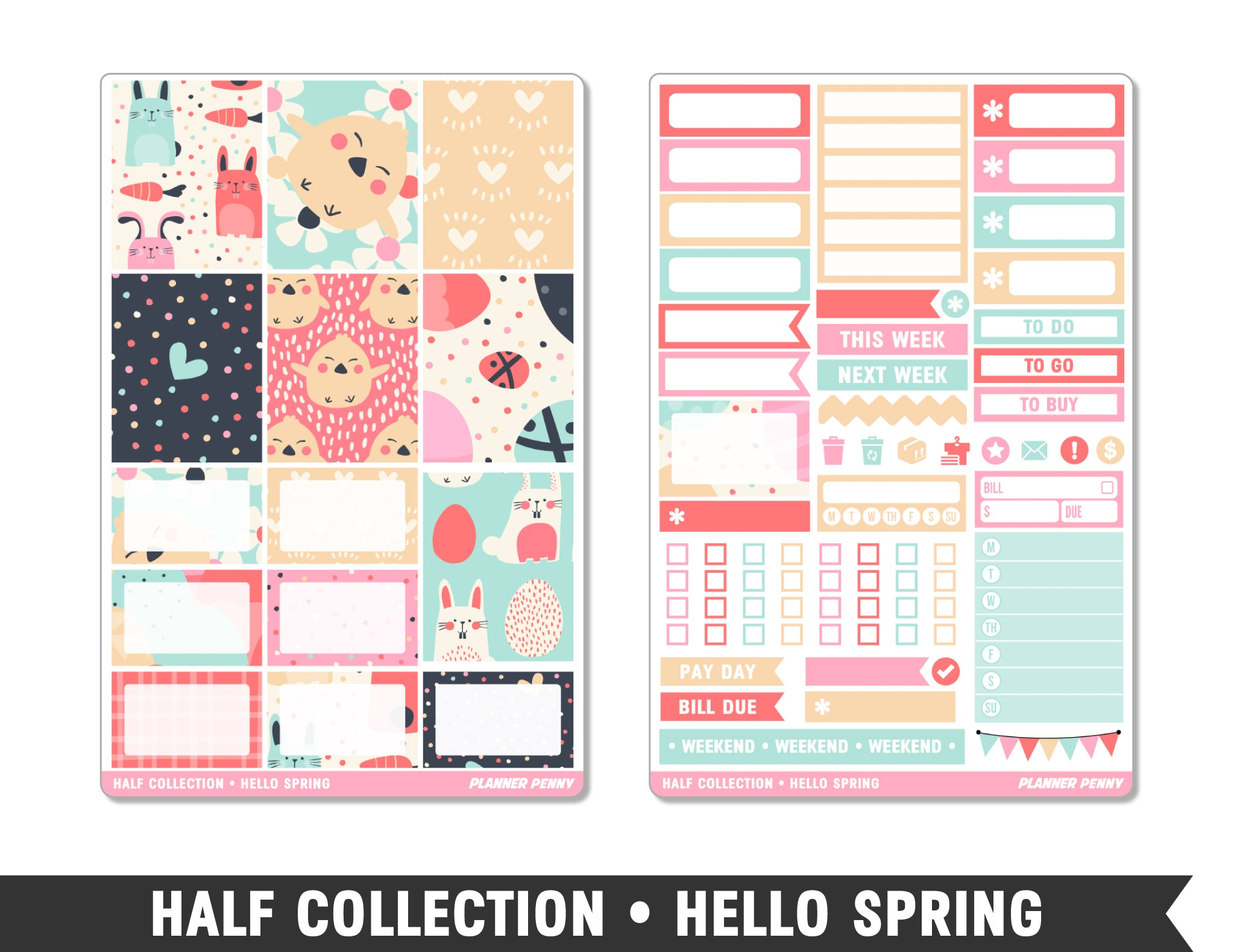 Half Collection • Hello Spring • Weekly Spread Planner Stickers - Planner Penny
