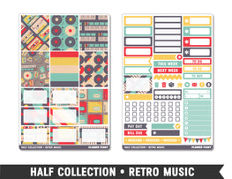 Half Collection • Retro Music • Weekly Spread Planner Stickers - Planner Penny