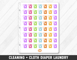 Cleaning • Cloth Diaper Laundry Planner Stickers - Planner Penny
