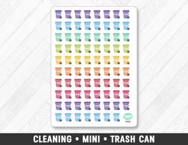 Cleaning • Mini Trash Can Planner Stickers - Planner Penny