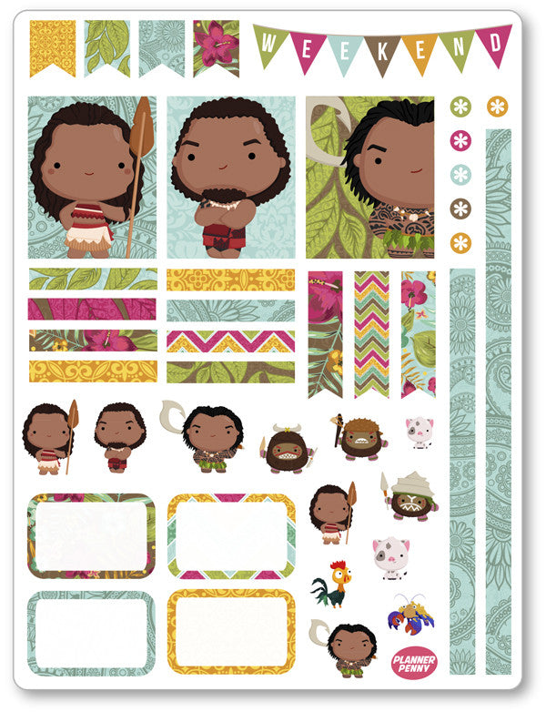Island Princess Decorating Kit PDF PRINTABLE Planner Stickers - Planner Penny