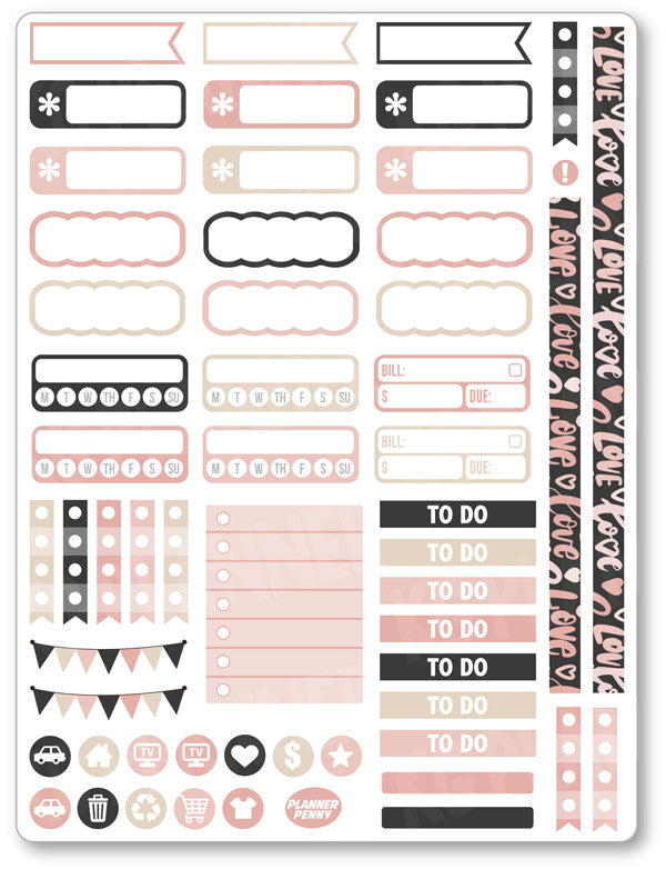 XOXO Functional PDF PRINTABLE Planner Stickers