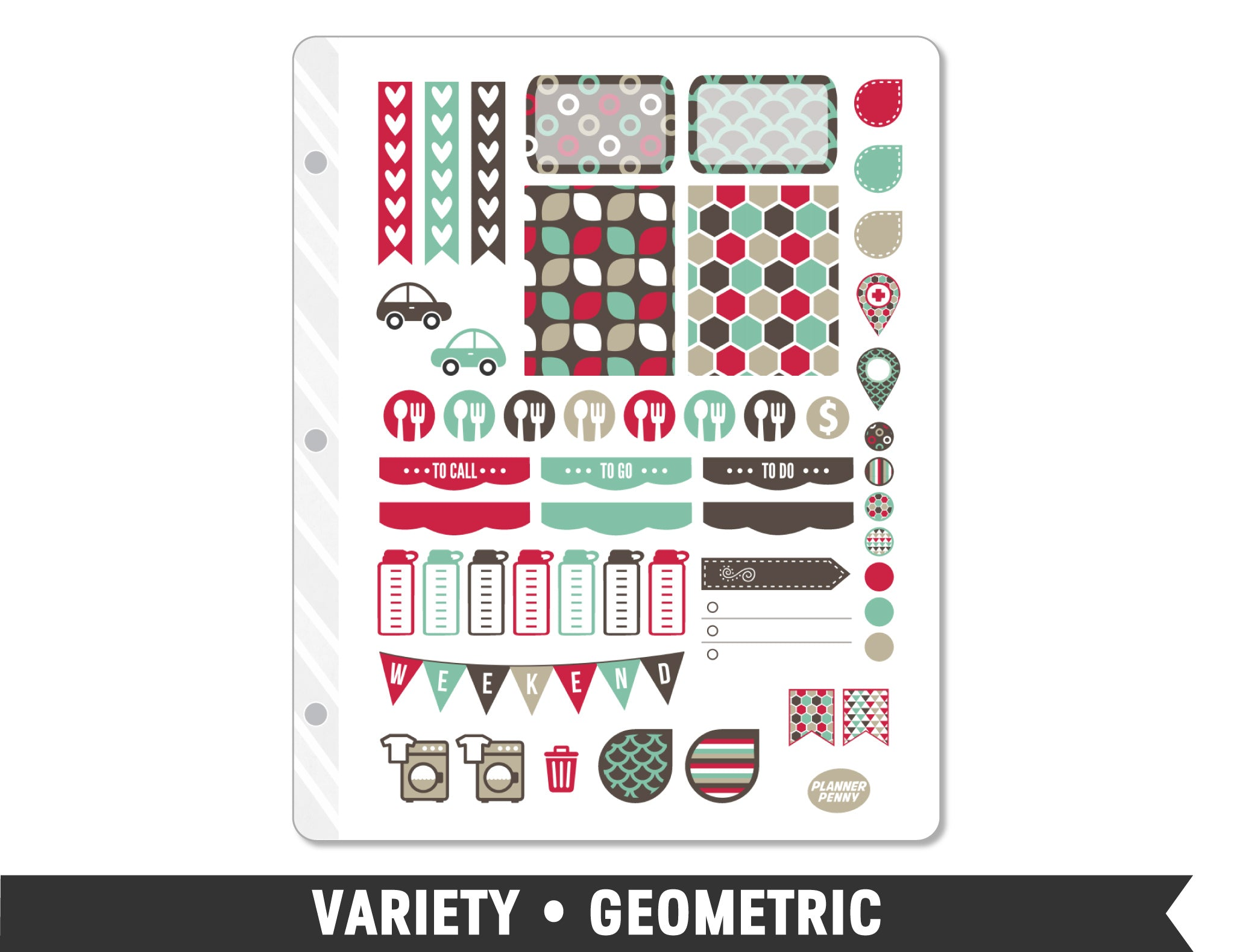 Variety • Geometric Weekly Spread Planner Stickers