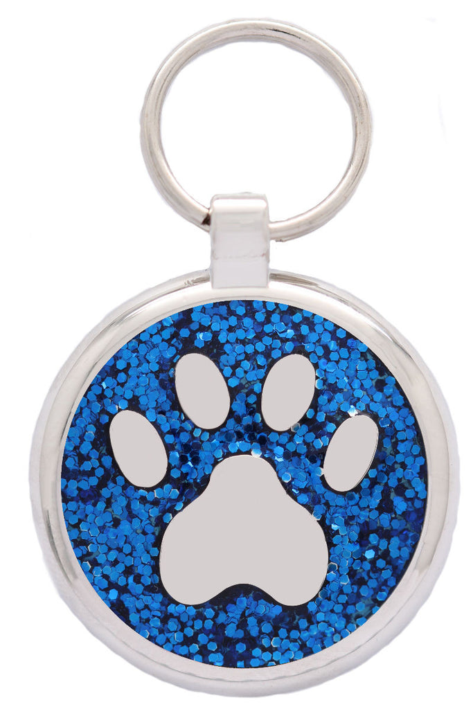 Blue Glitter Pawprint Pet Tag - Pawprint Pet Tags