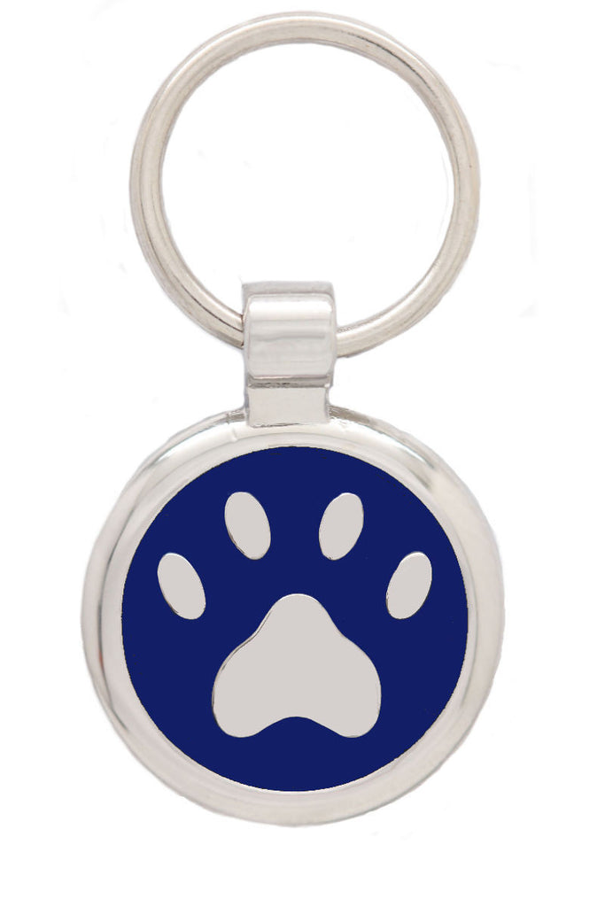 Extra Small Blue Pawprint Pet Tag - Pawprint Pet Tags
