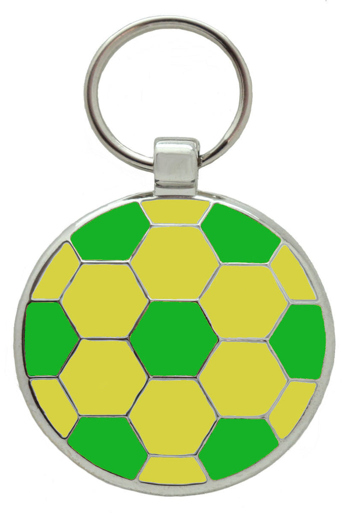 Green and Gold Football Pet Tag - Pawprint Pet Tags