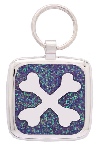 Blue Glitter Pawprint Pet Tag