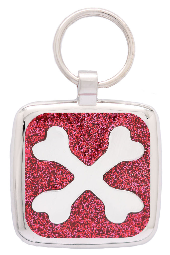 Red Glitter Crossbone Pet Tag - Pawprint Pet Tags
