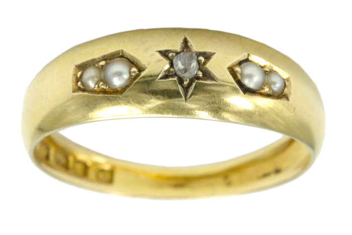 Victorian Pearl and Diamond Gypsy Ring