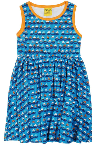 Duns Sweden - Gather Dress Sailing Boats Blue