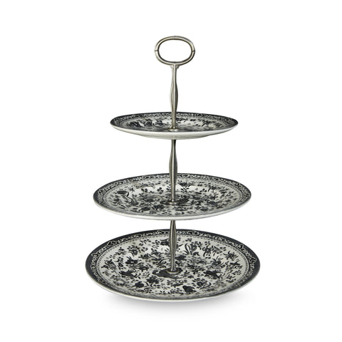 Black Regal Peacock 3 Tier Cake Stand Gift Boxed