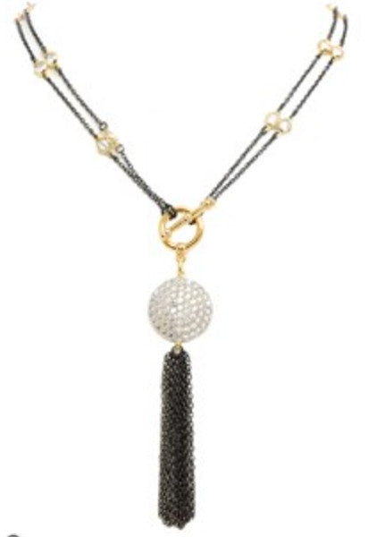 New Product - Gold Round Cubic Zirconia Pave Tassel - Quantum EMF Protectors