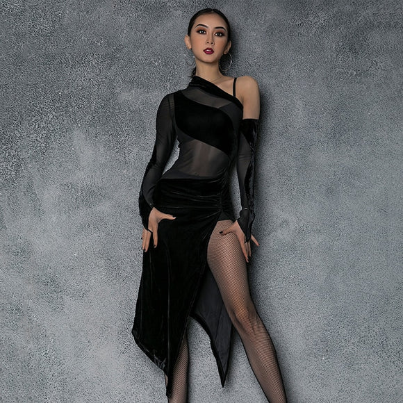 Long Black Latin Dress with Velvet Cut outs and Skirt with Slit. One Long Sleeve and One Glove. Available in S-XL