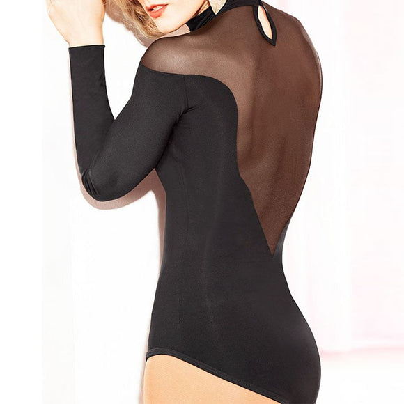 Sexy Long Sleeve Ballroom, Latin Practice Top Body Suit with Mesh Shoulder and V Neck and Back with Button Closure Pra338