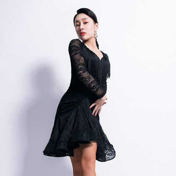 Black or Nude Latin Practice Dress with Fringe Accent on Top and On Skirt. Festures Long Lace Sleeve and Wrapped Horsehair Hem Pra326