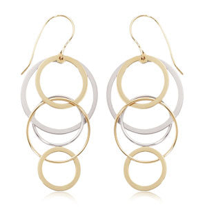14k Two-Tone Cascading Circle Earrings