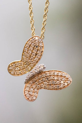 14k Tri-Color Gold and Diamond Butterfly Pendant