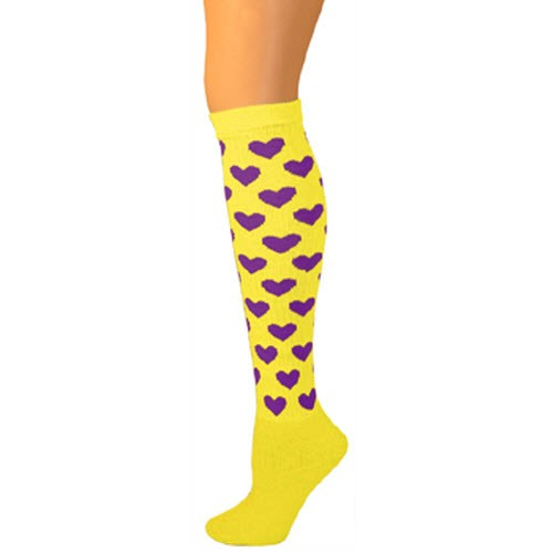 Heart Knee Socks - Lemon w/ Purple Hearts