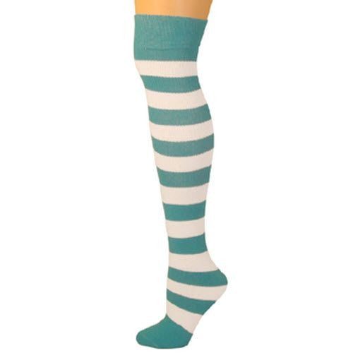 Adults Striped Knee Socks - Turquoise/White