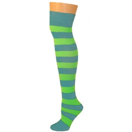 Striped Socks - Turquoise/Lime