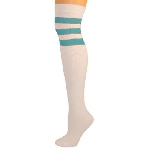 Retro Tube Socks - White w/ Turquoise (Over Knee)