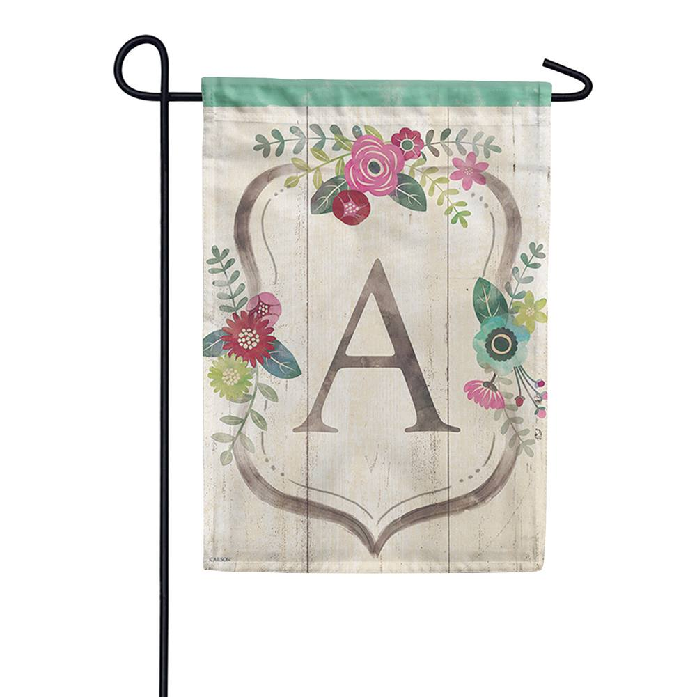 Classic Floral Monogram Double Sided Garden Flag