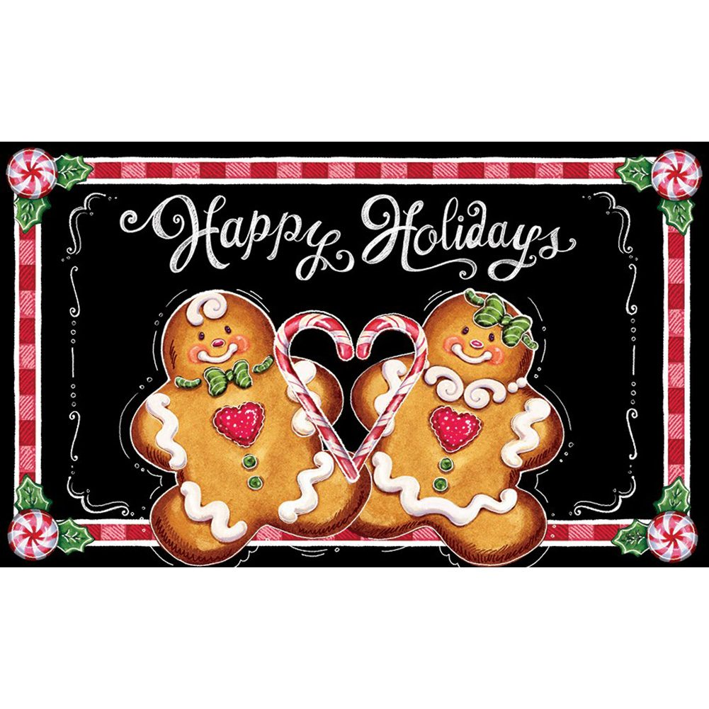 Gingerbread Happy Holidays Doormat