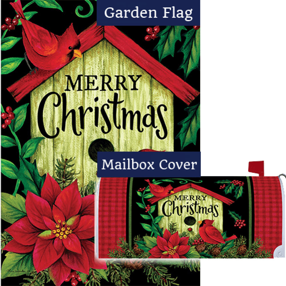 Merry Christmas Birdhouse Double Sided Flag Mailwrap Set (2 Pieces)
