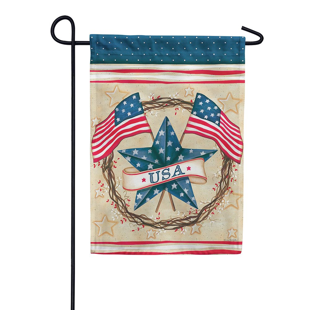 Patriotic Star Wreath Double Sided Garden Flag