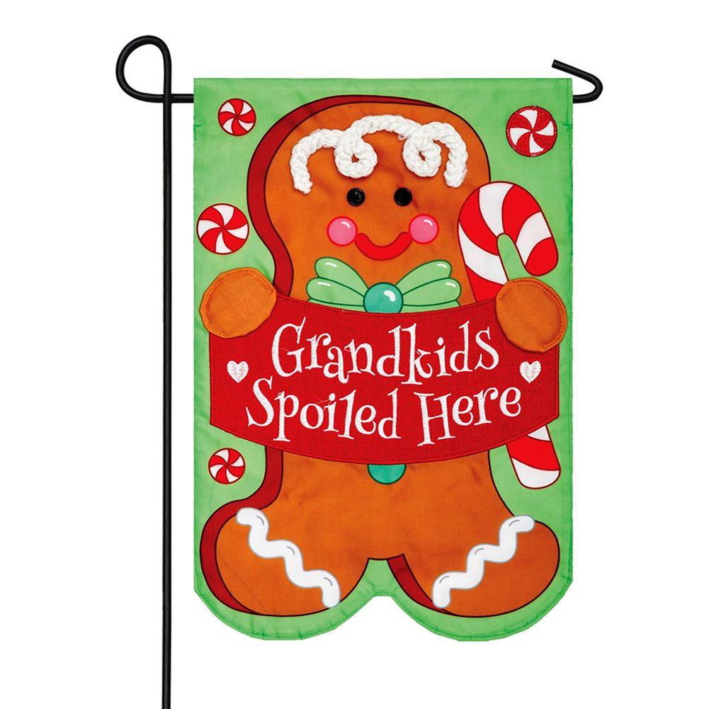 Grandkids Gingerbread Appliqued Double Sided Garden Flag