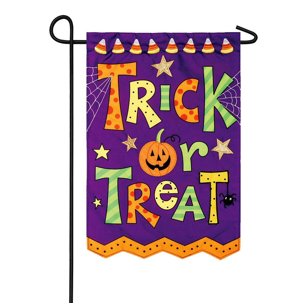 Trick Or Treat Appliqued Double Sided Garden Flag