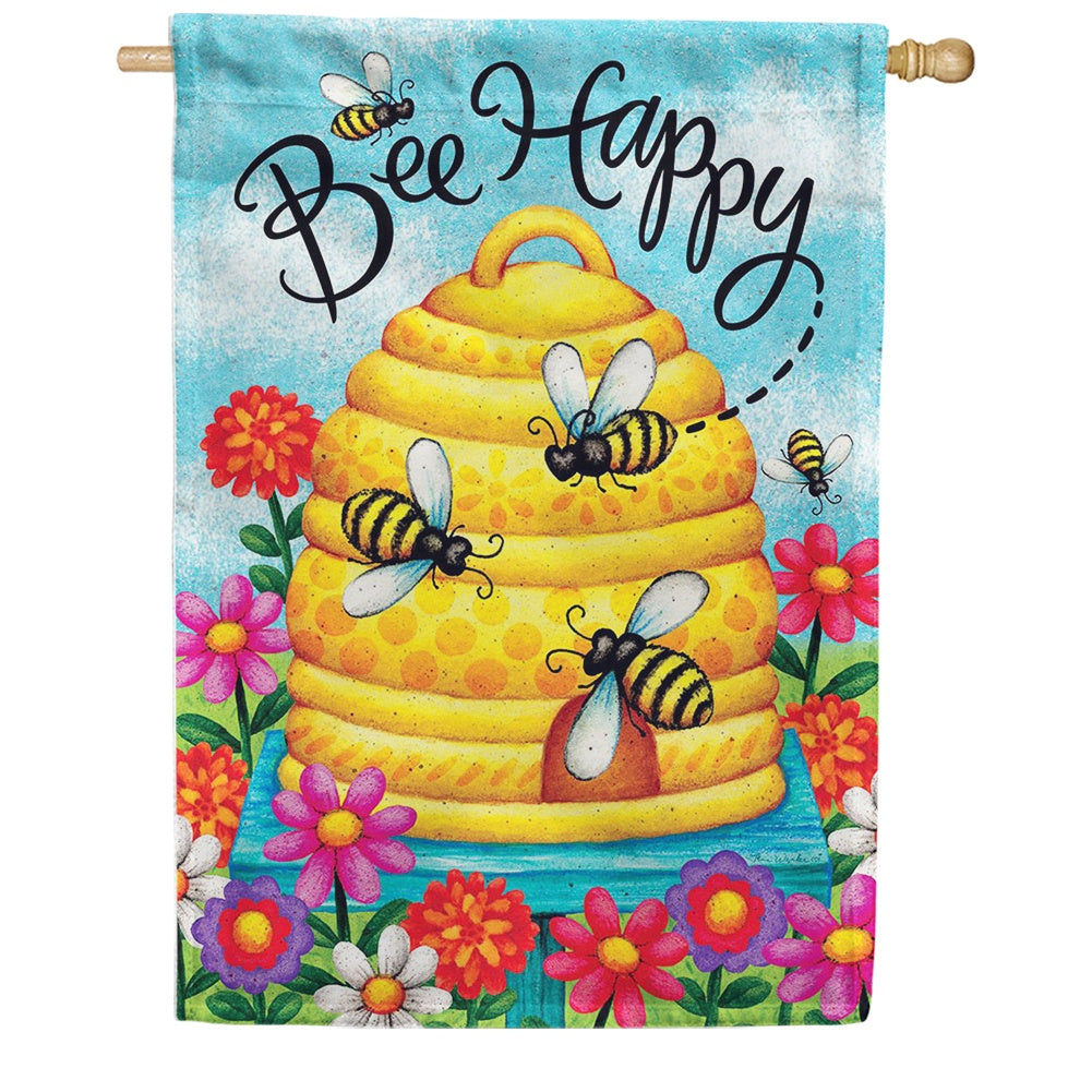 Bee Skep Bee Happy Double Sided House Flag