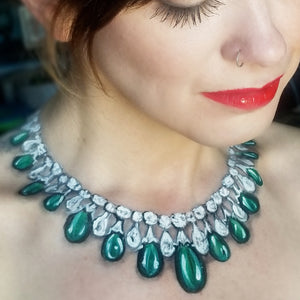 Diamond and Emerald Necklace Body Art by Kellie Burrus