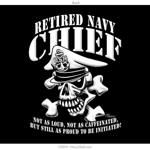"""Retired"" CPO/SCPO/MCPO Skull T-shirt, Black - NavyChief.com - Navy Pride, Chief Pride."