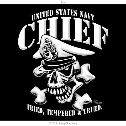 """Tried, Tempered & Trued."" CPO/SCPO/MCPO Skull T-shirt, Black - NavyChief.com - Navy Pride, Chief Pride."