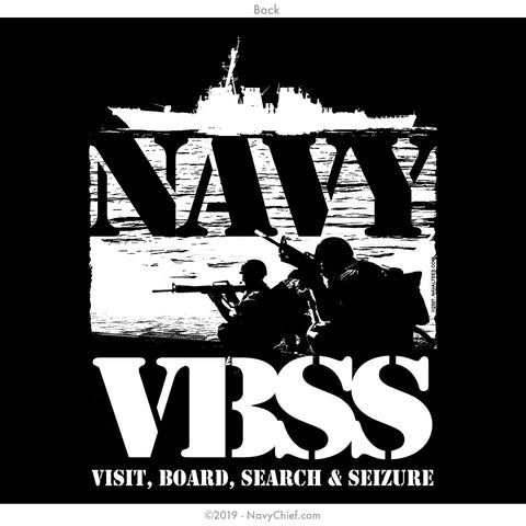 """US Navy Visit, Board, Search & Seizure (VBSS)"" T-shirt, Black - NavyChief.com - Navy Pride, Chief Pride."