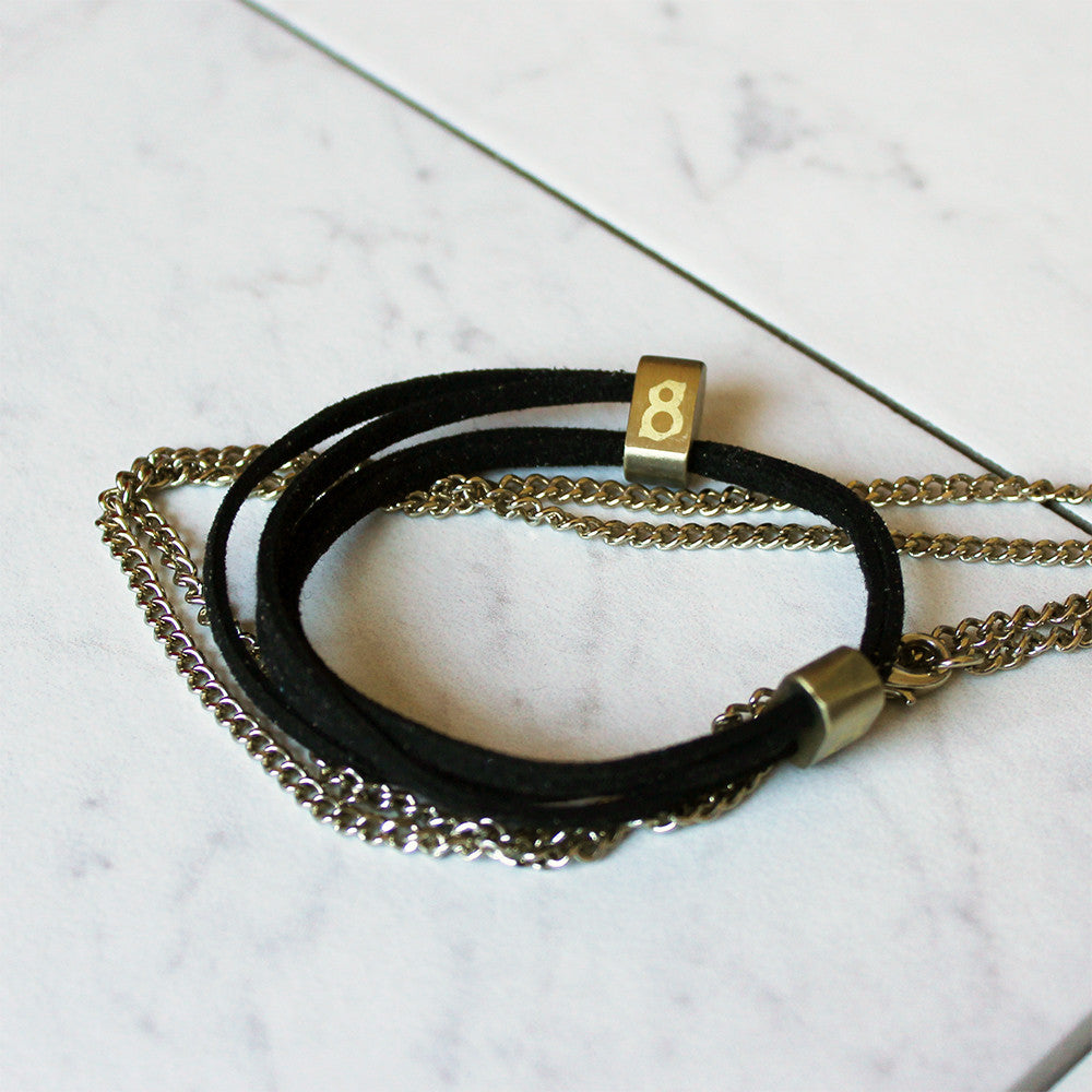 Black and Gold (Jet gold) leather st8te bracelet
