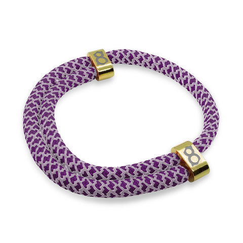 st8te Handmade (Grape) Purple and Gold Rope Bracelet | Adjustable Rope Slider