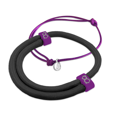 st8te Handmade Black & Purple Bracelet Stack | Adjustable Sliders