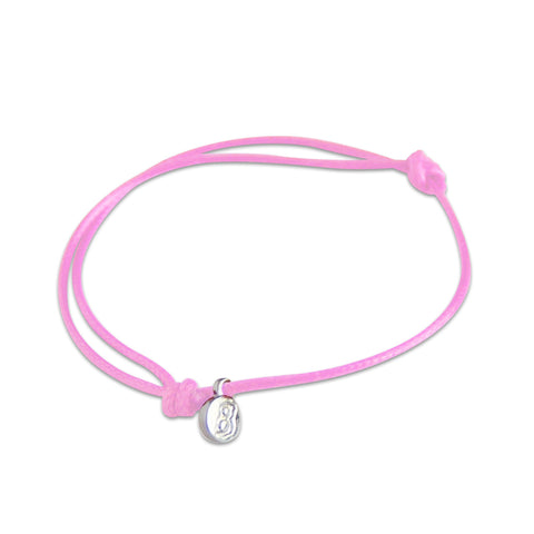 st8te Handmade Light Pink Bracelet with Charm | Adjustable Rope Slider