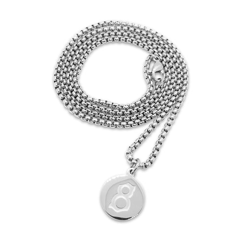 st8te- Silver 3mm Stainless Steel Silver Necklace with Logo Pendant
