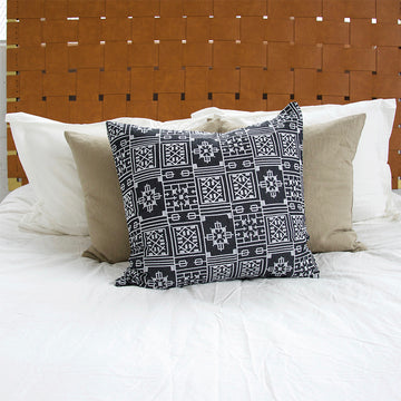 Black Geometric Embroidered Accent Pillow - 24x24