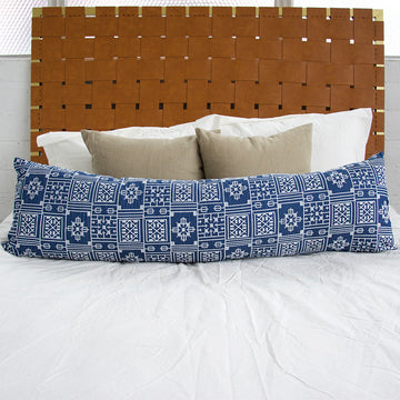 Blue Geometric Embroidered Extra Long Lumbar Pillow - 14x50