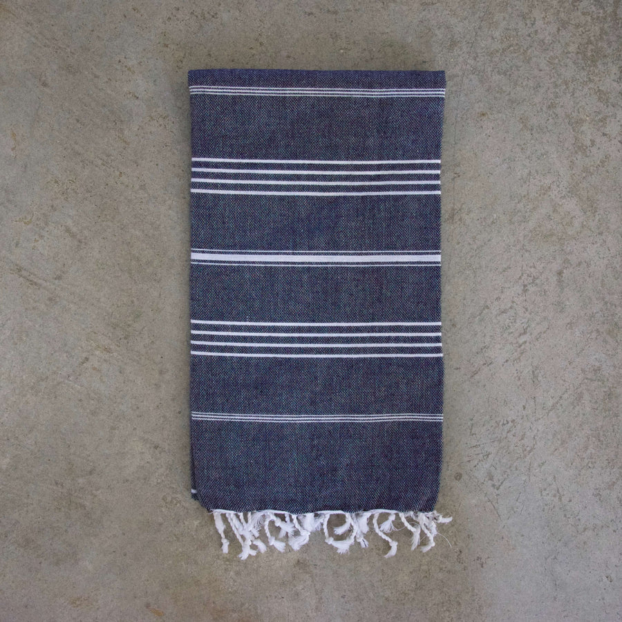 Turkish Towel / Throw - Charcoal Grey Stripes