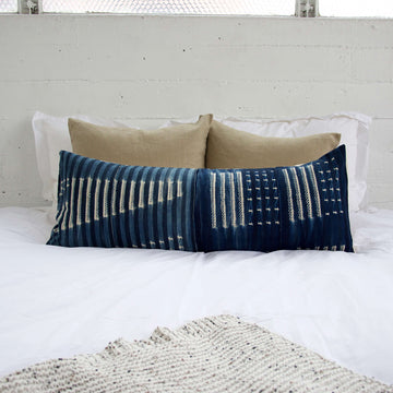Indigo African Mud Cloth Extra Long Lumbar Pillow - 14x36 #27