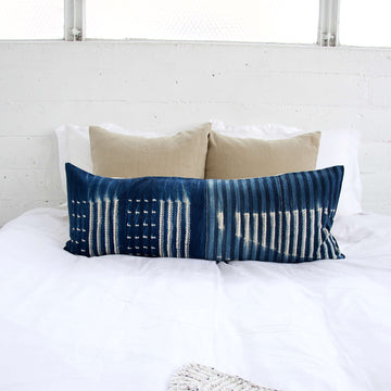 Indigo African Mud Cloth Extra Long Lumbar Pillow - 14x36