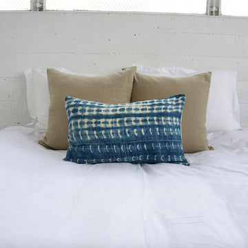 Indigo African Mud Cloth Lumbar Pillow - 14x22 #14