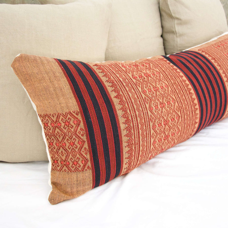 Extra Long Lumbar Pillow 14x36 inches Red, peach
